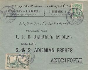 TURKEY 1913   COVER ARMENIAN ADVERTISEMENT FROM ISTANBUL TO EDIRNE