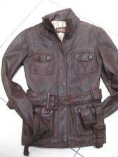 Ladies NEXT brown real leather JACKET COAT size UK 8 6 short SAFARI biker