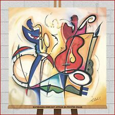 Abstract Canvas Large XL Framed Box Print Picture Jazz Music Big Band Sax Bass