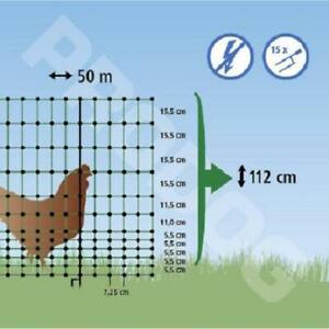 Filet cloture DOUBLE POINTES h1,12m/Long 50m poule, volaille, non electrifiable