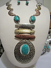 Tri Tone Hammered Pendant Turquoise Stone Bead Chunky Necklace Earring Set