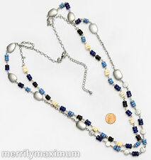 Chico's Signed Silver Tone Long Chains Necklace Cobalt Blue Ivory Color & Black