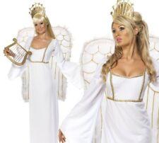 Womens Deluxe Angel Costume +Wings Ladies Christmas Fancy Dress UK 8-18