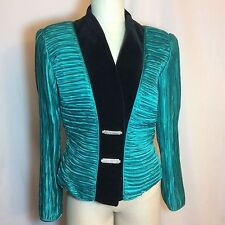 VNTG 80's George F. Couture Fortuny Pleated Velvet Turquoise Dynasty SZ 10 EUC