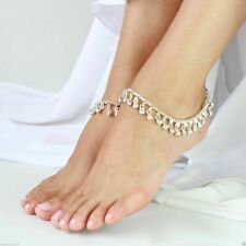 Silver tone foot Chain Jingle Bells Anklets Payal pair, free shipping