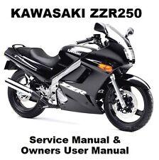 KAWASAKI ZZR250 Workshop Service Repair & Owners User Manual PDF on CD-R ZZR 250