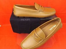 NIB PRADA BROWN TEXTURED LEATHER LOGO MOCCASINS DRIVING LOAFERS 12 13