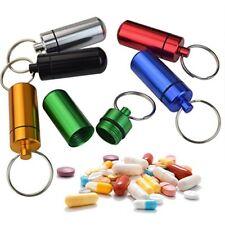 Llavero píldora 6x Soporte Tablet Cápsula Caja bala KEYRING Contenedor mezcla de color