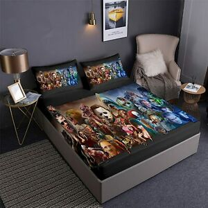 Horror Movie Characters 3Pcs Bed Sheet Set Deep Pocket Fitted Sheet Pillowcases