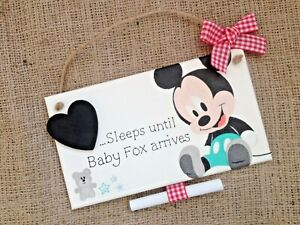 Personalised Disney Mickey Mouse Baby Countdown Plaque Sign Maternity Pregnancy