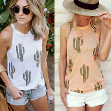Womens Cactus Print Sleeveless Vest Tank Slim Tops Summer Casual T Shirt Blouse