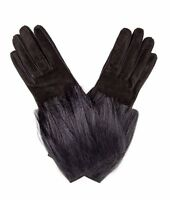 AUTHENTIC NEW WOMEN'S FENDI BLACK SUEDE LEATHER WITH KIDASSIA FUR GLOVES,size M
