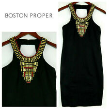 Boston Proper 4 Small Dress Shift Beaded Embellished Black Cocktail Evening  cc
