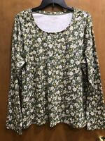 White Stag Women's Top XXL (20) Green, Yellow Floral LS Tee T-Shirt NWOT Cotton