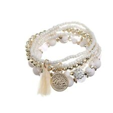 Fashion Womens Bohemian 1 Set Multilayer Coin Acrylic Beads Bracelet Xmas Gifts White