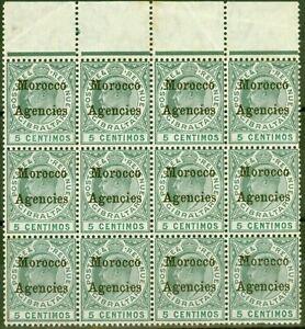Morocco Agencies 1905 5c Grey-Green & Green SG24 Good MNH Block of 12