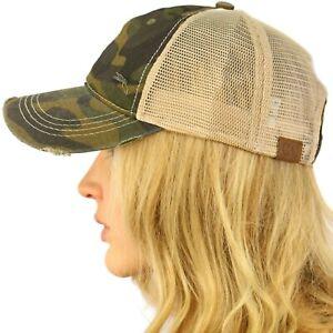 CC Everyday Distressed Trucker Mesh Summer Vent Baseball Sun Cap Hat Camo Olive