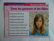 CARTE FICHE PLAISIR DE CHANTER FRANCOISE HARDY TOUS LES GARCONS ET LES FILLES