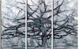 Piet Mondrian - Gray Tree Art Poster Mounted Canvas Print (71x47in) #86762