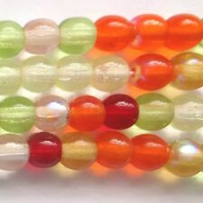 100 Czech Druk Round beads 4mm Tango