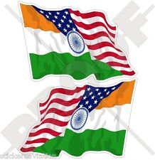 USA United States America-INDIA American & Indian Flying Flag 75mm Stickers x2