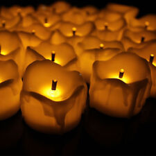 12pcs Flickering Warm White LED Battery Dripping Wax Candles Votive Tea Lighting