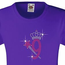 """Girl's Birthday TShirt """"9 with crown & wand"""" Rhinestone Embellished-Many Colours"""