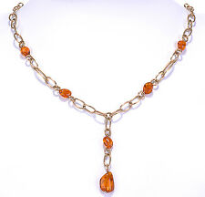 """14K Yellow Gold Amber Gemstone bead Y Necklace  18"""" long"""