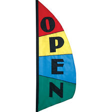 Open (Message) Feather Banner Open Block Pattern Style 8.5 ft Flag PR 26212