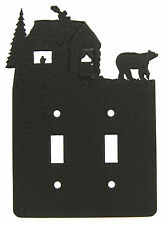 Bear & Cabin Double Switch Cover Plate Black