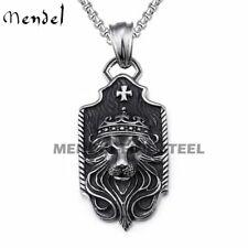 MENDEL Mens Stainless Steel Large Leo Lion King Head Men Pendant Necklace Chain