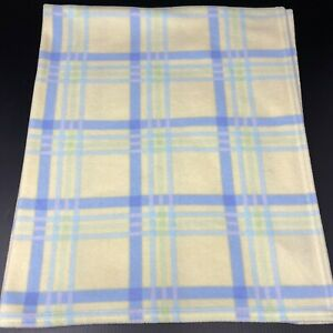 Vintage Carters Yellow Blue Green Plaid Baby Blanket Fleece Lovey Security