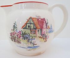 Vintage House Design Pitcher with a Needle-Point Look