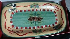 """Lenox Winter Greetings Everyday Small Hors D'Oeuvre Tray 14"""" Unused in Box"""