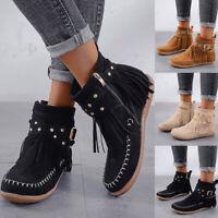 Damen Stiefel Cowboy Ankle Boots Stiefeletten Western Quaste Flache Schuhe 35-43