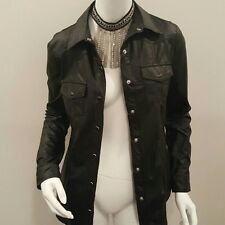 Faux-Leather Punk Rock Goth Rock And Roll Mod Fashion Long Sleeve Button Down Bl
