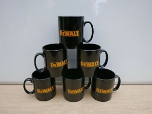 6 X EARTHENWARE POTTERY COFFEE TEA MUGS WITH DEWALT LOGO