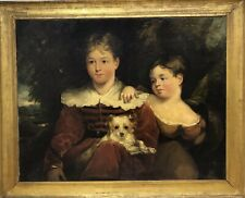 Interesting Large antique country house oil painting on canvas Family Portrait