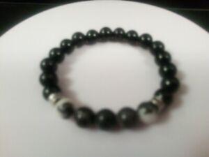 Mens bead bracelet Sterling Silver Black Onyx Mexico black and white Jasper