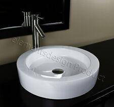Bathroom Ceramic Vessel Sink With Brushed Nickel Faucet & Drain 7770AL01