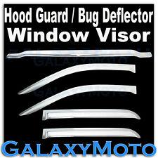 14-15 Chevy Silverado 1500 Crew Cab Chrome Hood Guard Bug Deflector+Window Visor