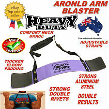 PURPLE ARNOLD WEIGHT LIFTING BODYBUILDING BICEP ARM BLASTER EZ BAR CURL ARMS