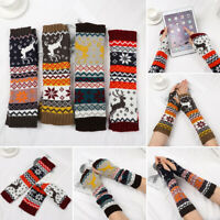 Knitted Fingerless Wristband Long Sleeve Arm Cover Elbow Mittens Long Gloves