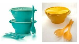 Tupperware Salad Bowl 3.8L With Forks Turquoise Yellow
