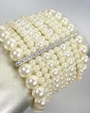 Chic ARTISANAL Crema Perlas Cristales barras Pulsera elástica