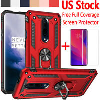 For OnePlus 7 Pro Shockproof Armor Metal Ring Stand Case Cover+Screen Protector