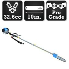 "Pole Saw Gas Powered 10"" Bar Chain 2 Cycle 32.6cc Pruner Mini Chainsaw Branch"