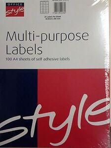 Laser / Inkjet Printer labels 21/sht bx2100