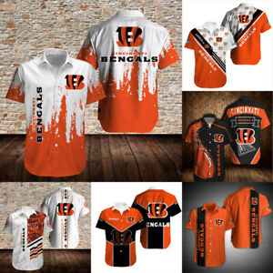 Cincinnati Bengals Hawaiian Shirt Short Sleeve Button Down Tee Top Shirts S-5XL
