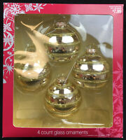 NIB 2006 Target Glass Christmas Ornaments Gold Latitude Design 4 Count